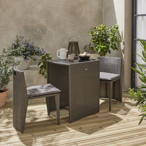 2-seater stacking rattan table - Doppio