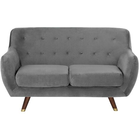 2 Seater Velvet Sofa Grey BODO