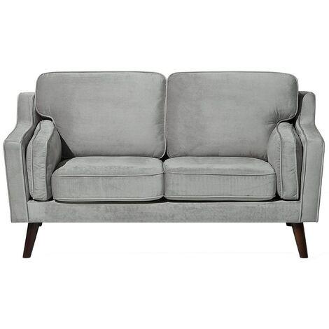 2 Seater Velvet Sofa Light Grey LOKKA