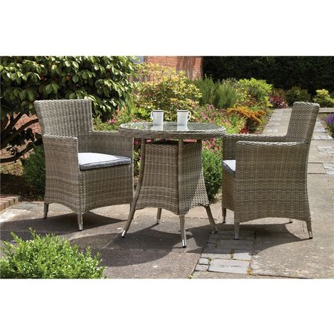 2 Seater Wentworth Bistro Set - 70cm Round Table With 2 Carver Chairs Incl Cushions