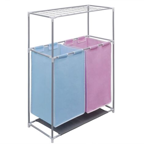 2-Section Laundry Sorter Hamper with a Top Shelf for Drying - Multicolour