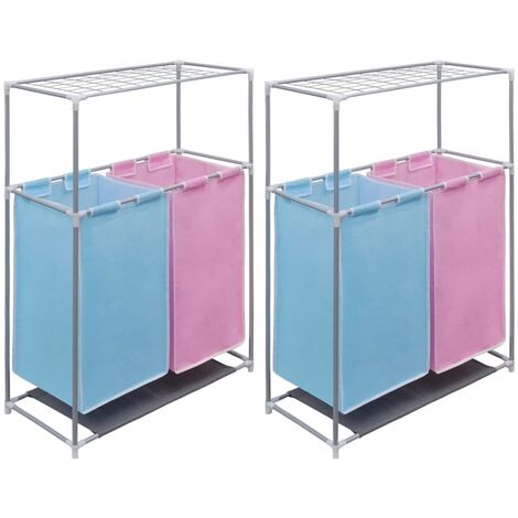 2-Section Laundry Sorter Hampers 2 pcs with a Top Shelf for Drying - Multicolour