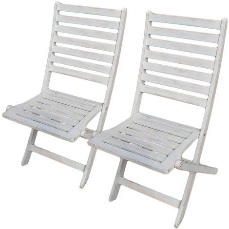 Sedie In Legno Giardino.2 Sedie Da Esterno Sedia In Legno Di Acacia Bianca Per Giardino