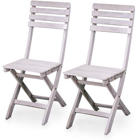 Sedie Per Esterno In Legno.2 Sedie Da Esterno Sedia Pieghevole In Legno Di Acacia Bianca