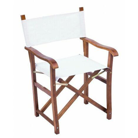 Sedie Da Regista In Legno.2 Sedie Da Giardino In Legno Juniper Regista Lux Canvas 320 Gr Ecru Legno Color Teak