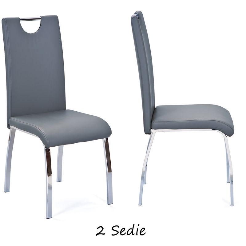 2 Sedie Grigio in Ecopelle Imbottite Metallo Moderna da Salotto Cucina  Soggiorno
