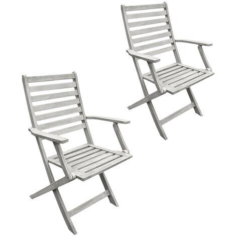 Sedie In Legno Richiudibili.2 Sedie In Legno Pieghevoli Poltrone Grigie Da Esterno Per Tavolo Da