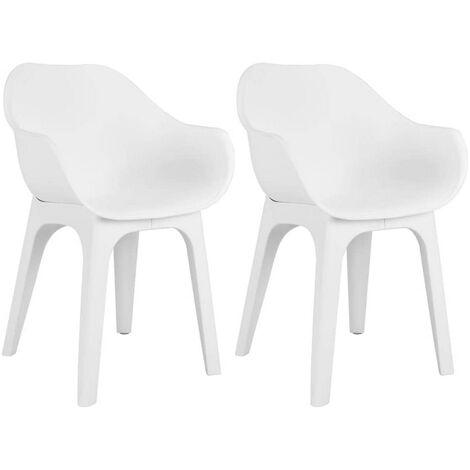 2 Sedie poltrone in plastica da interno ed esterno dal design moderno GHIBLI