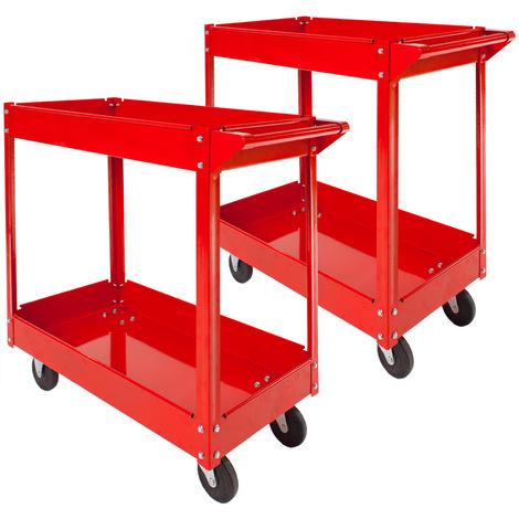 2 Servantes d'Atelier Mobiles à Outils Charge 100 kg 2 Etages Rouge