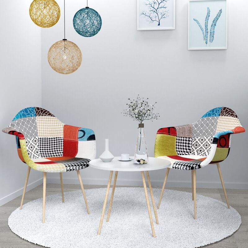 2 Set Stühle Esszimmerstühle Mixed Color Sessel Bequemer Stoffsitz - VADIM