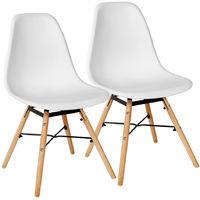 2 Set Stühle Esszimmerstühle Stuhl Sessel Retro Weiß Kingpower