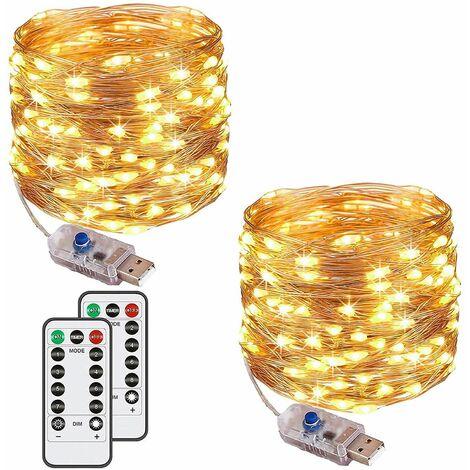 2 Sets] 120 LEDs 12M Außen- und Innen-Lichterketten IP65 mit Remote-Timer