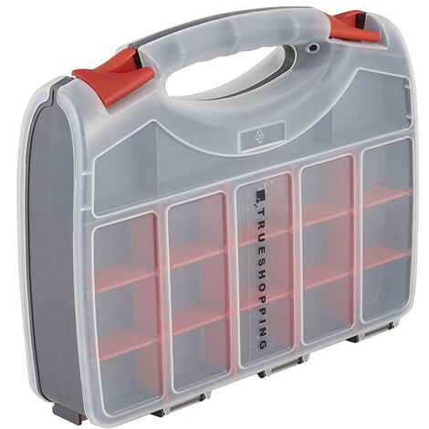 2-Sided Storage Box Organiser - 15 Compartments Clear Lids Removable Dividers