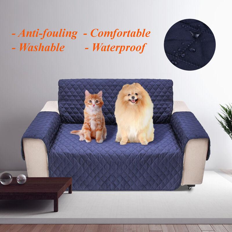 Manta - 2 sièges pour chien de compagnie canapé tapis canapé meubles protecteur couverture coussin lavable étanche bleu marin 2 places