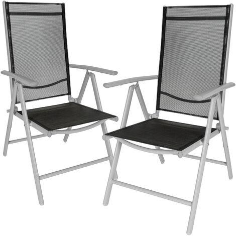 2 sillas de jardín de aluminio - mueble de terraza plegable, silla con estructura de aluminio y malla sintética, asiento reclinable transpirable
