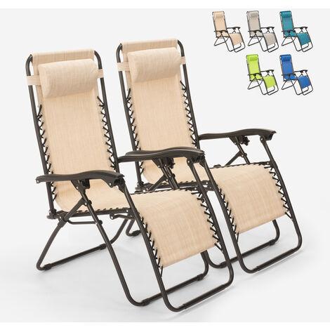 "main image of ""2 sillas de playa tumbona hamaca plegables de jardín de varias posiciones Emily Zero Gravity"""