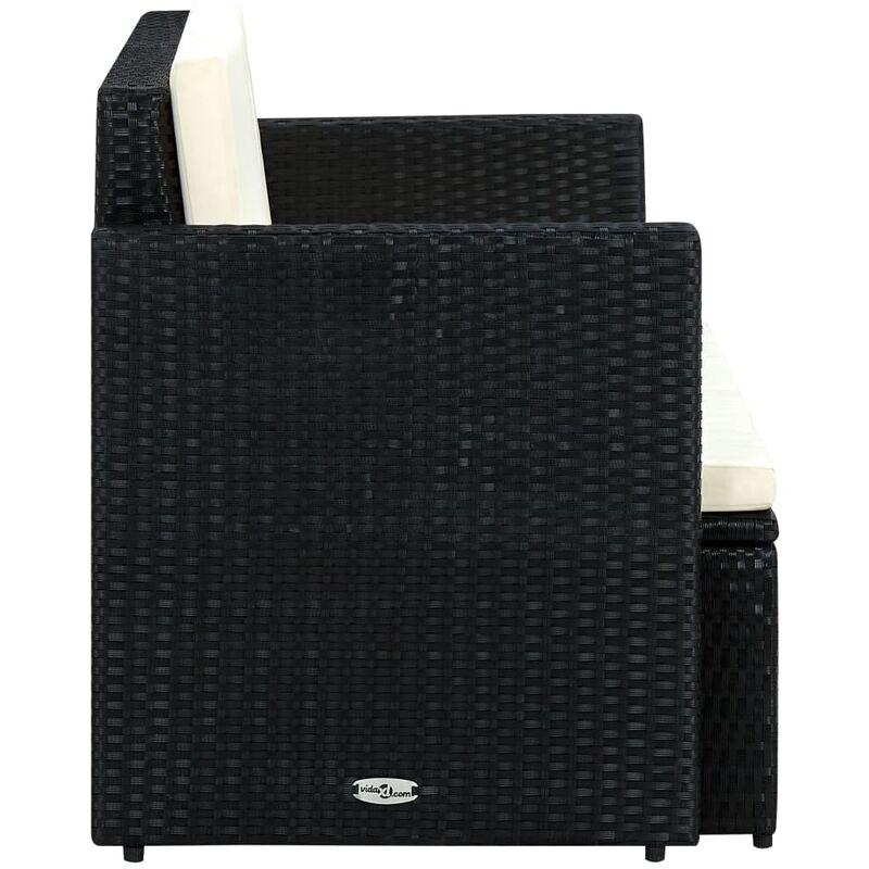 Bevorzugt 2-Sitzer-Gartensofa mit Auflagen Schwarz Poly Rattan - MN63