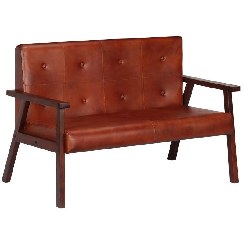 2-Sitzer-Sofa Braun Echtleder