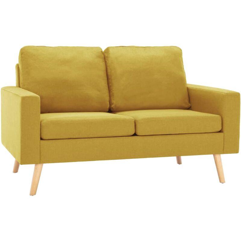 2-Sitzer-Sofa Gelb Stoff - VIDAXL