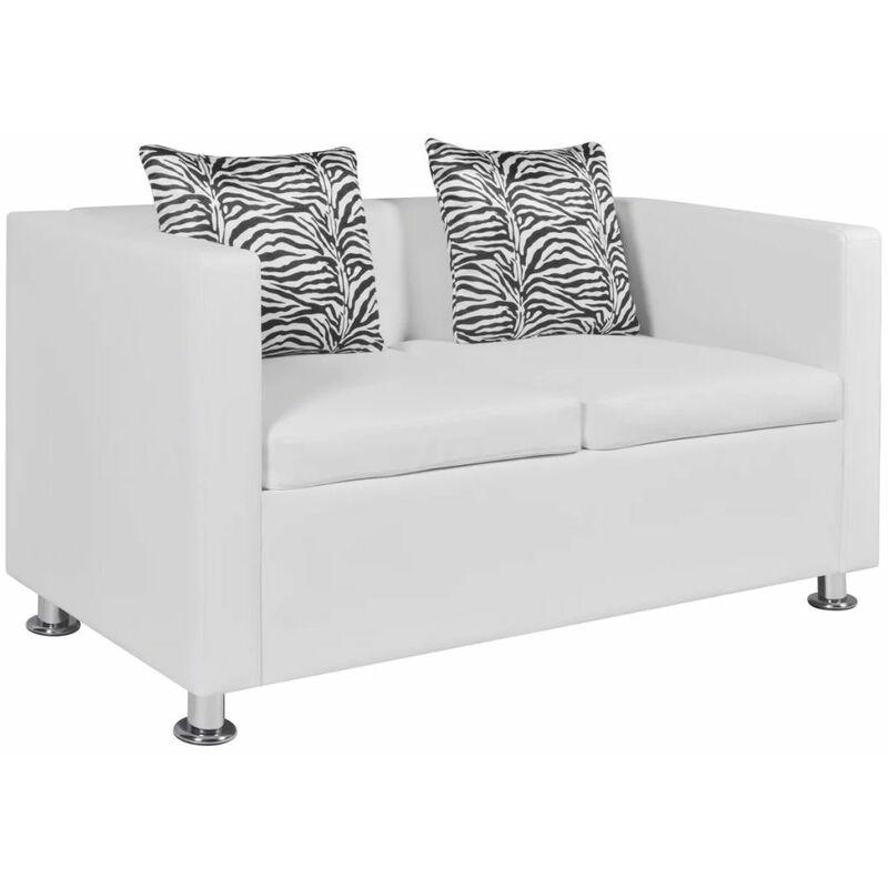 2-Sitzer-Sofa Kunstleder Weiß - ZQYRLAR
