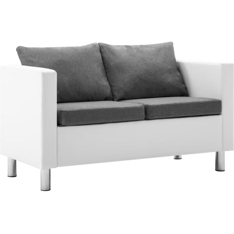 2-Sitzer-Sofa Kunstleder Weiß und Hellgrau - VIDAXL