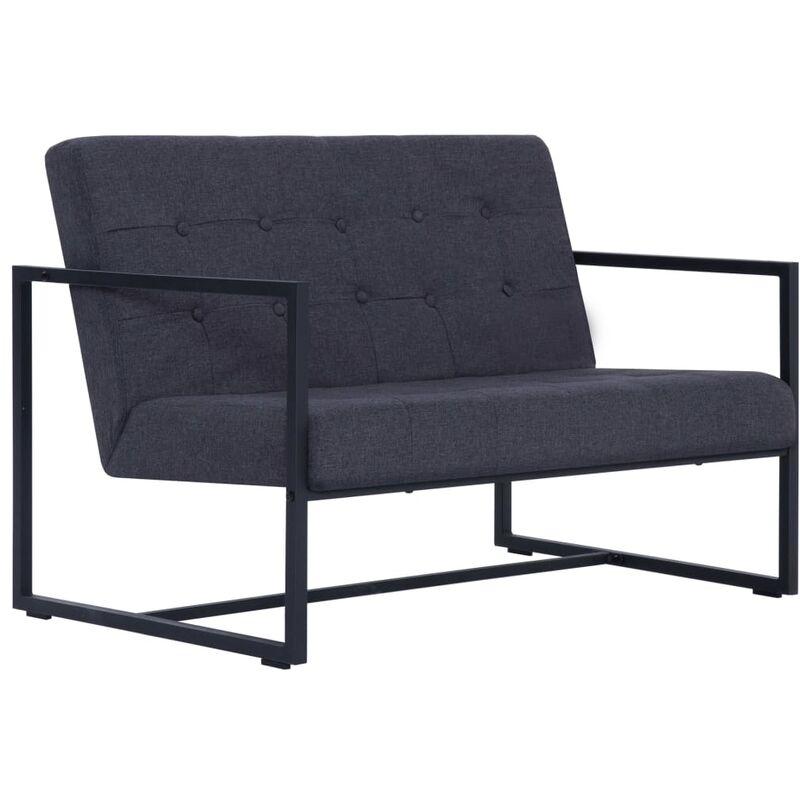 2-Sitzer-Sofa mit Armlehnen Stahl Stoff Dunkelgrau - VIDAXL