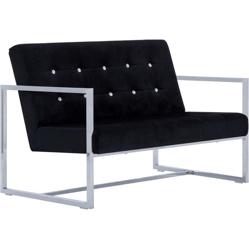 2-Sitzer-Sofa mit Armlehnen Chrom Samt Schwarz - VIDAXL