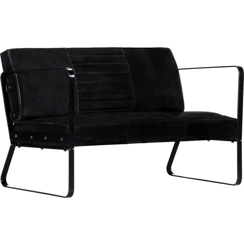 2-Sitzer-Sofa Echtleder Schwarz