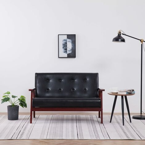 vidaXL 2-Sitzer-Sofa Schwarz Kunstleder