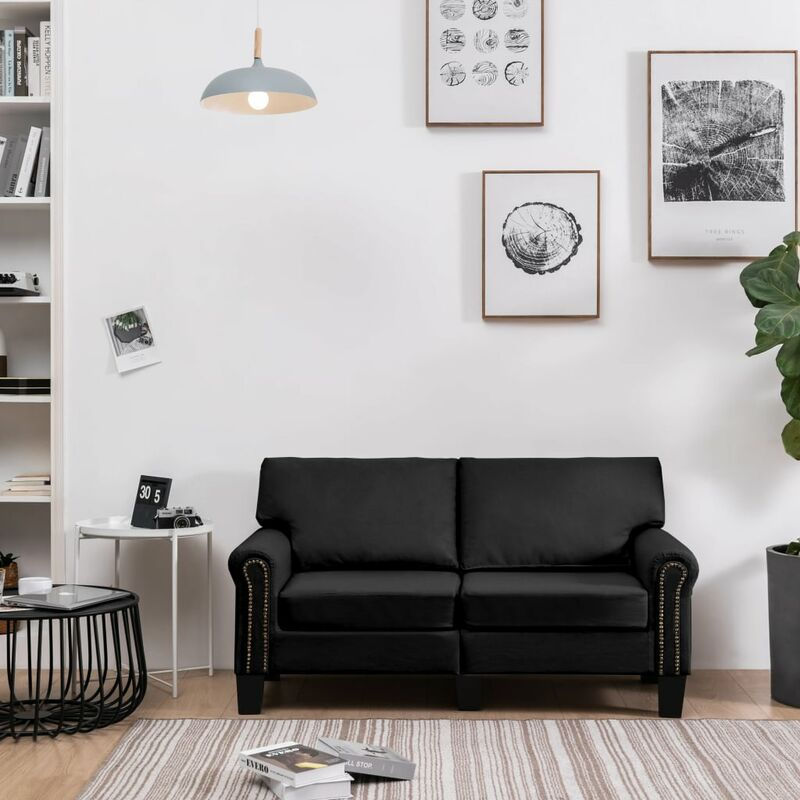 2-Sitzer-Sofa Schwarz Stoff - VIDAXL