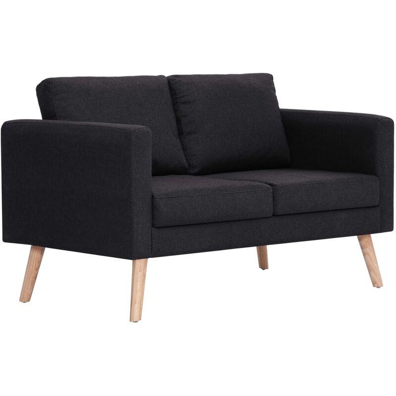 2-Sitzer-Sofa Stoff Schwarz