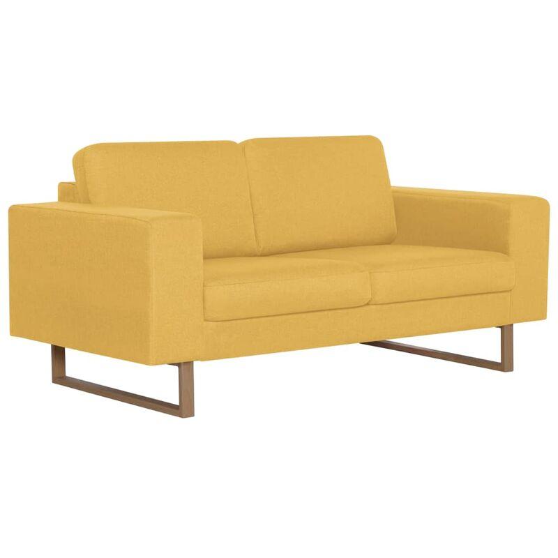 2-Sitzer-Sofa Stoff Gelb - VIDAXL