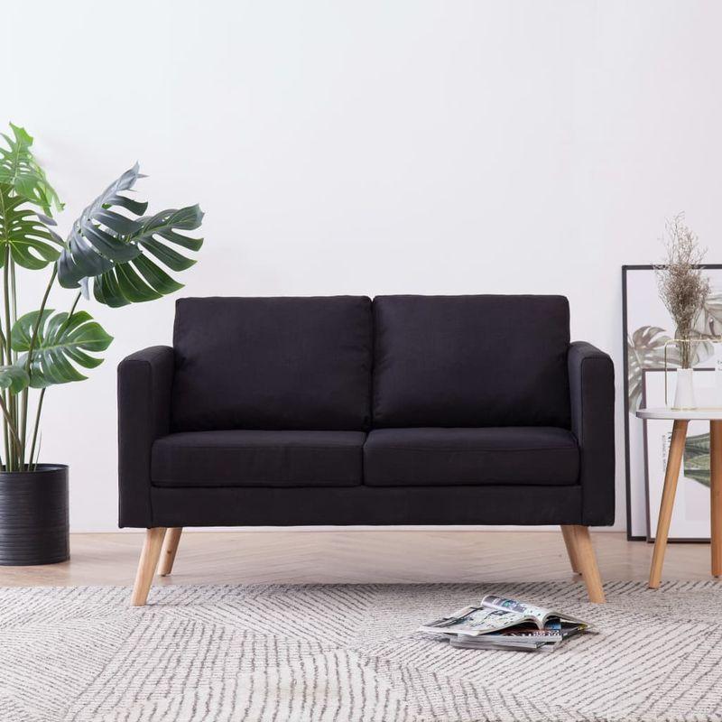 2-Sitzer-Sofa Stoff Schwarz - ASUPERMALL
