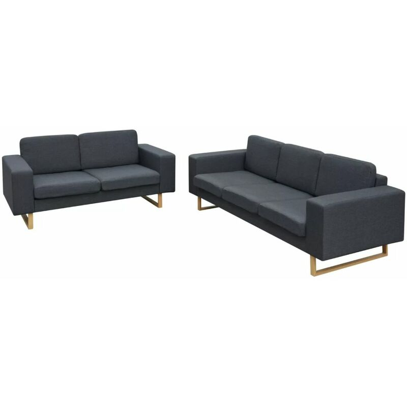 2-Sitzer und 3-Sitzer Sofa Set Dunkelgrau - ZQYRLAR