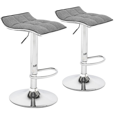 2 Soft-Packed Square Board Curved Foot Bar Stools Cotton And Linen Fabric-Different Color