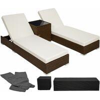 2 Sonnenliegen Rattan mit Aluminiumgestell und Tisch inkl. Schutzhülle - Gartenliege, Liegestuhl, Relaxliege