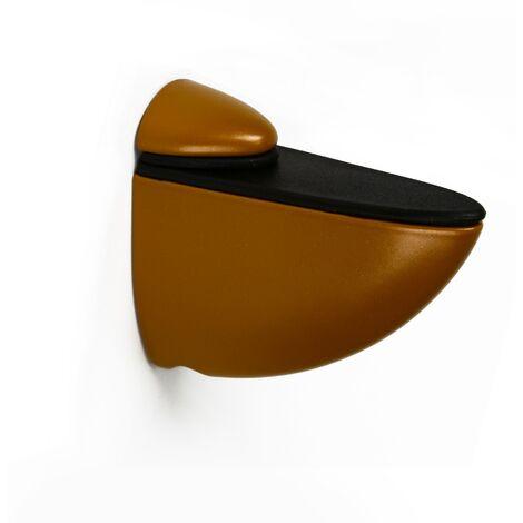 2 Soportes pelícano regulable para baldas de cristal y madera con estilo moderno, fabricado en zamak y acabado en coñac.