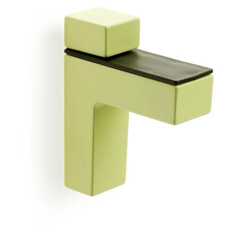 2 Soportes regulable para baldas de cristal y madera con estilo decorativo, fabricado en zamak y acabado en verde.