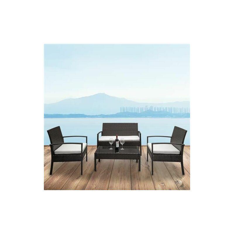 2 soutiens -canapé 1 siège d'amour et table basse en verre trempé canapé en canne ensemble brun gradient