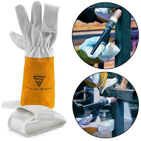 2 × STAHLWERK WIG Finger/TIG Finger Set zum Schweißen mit Schweißgeräte Plasmaschneider, für WIG MIG MAG MMA Plasma , hitzebeständiges Kevlargewebe, weiß