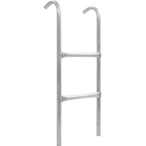 2-Step Trampoline Ladder Steel Silver 82.5 cm
