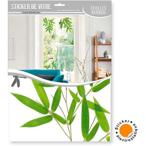 2 Stickers de vitre Feuilles de bambou - 40 x 30 cm - Vert