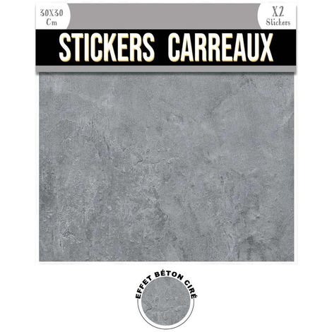 2 Stickers effet béton ciré - 30 x 30 cm - gris - Gris