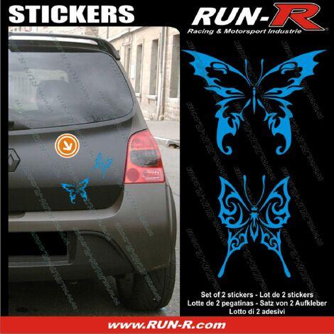 2 stickers PAPILLON TRIBAL 13 cm - BLEU