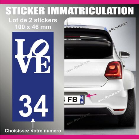 2 stickers plaque immatriculation - Modele LOVE
