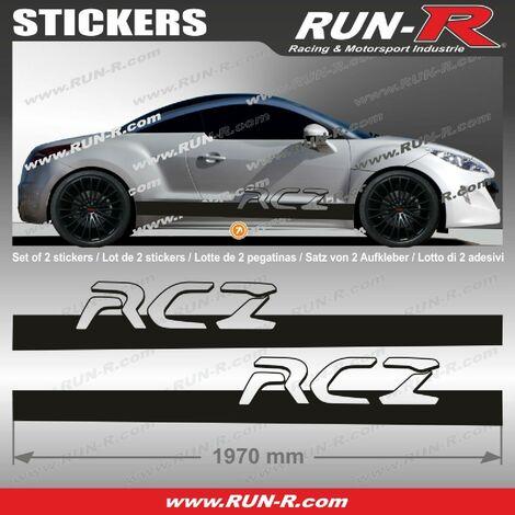 2 stickers pour PEUGEOT RCZ 200 cm - NOIR Run-R Stickers