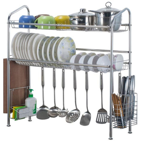 2 Storey Drainer Grate Dish Basket Dish Rack Stainless Steel Holder Kitchen Bowl Hasaki