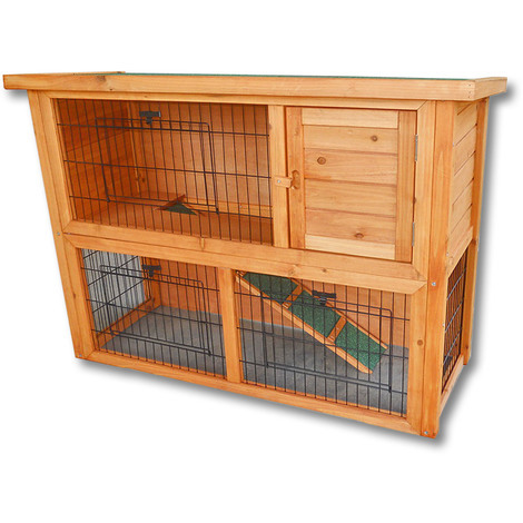 2-Story Free Running Rabbit Hutch Wooden Pet House Guinea Pig, Hamster