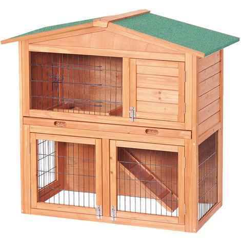 2 Story Luxury Rabbit Hutch Wood Pet House Guinea Pig Hamster 50022