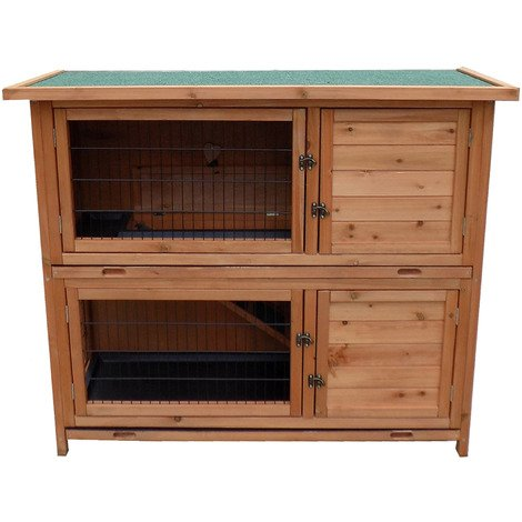 2-Story Luxury Rabbit Hutch Wood Pet House Guinea Pig Hamster